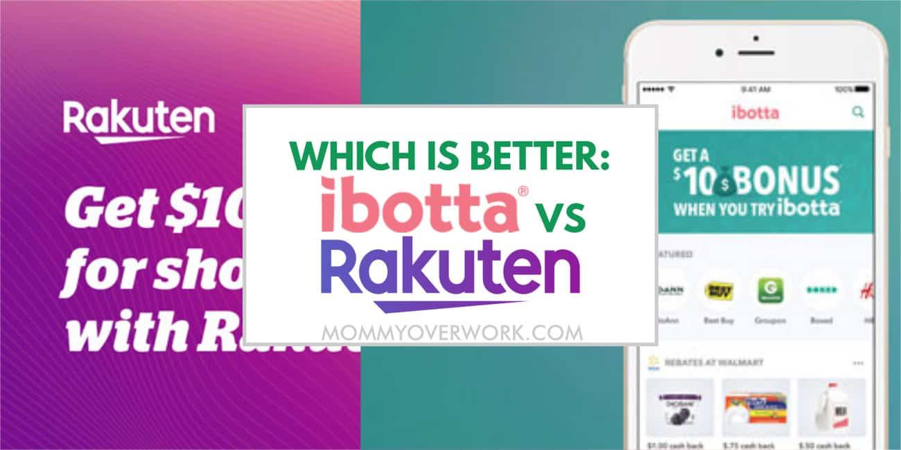 ibotta vs rakuten ebates which cashback app is best text atop welcome bonus ad for each site.