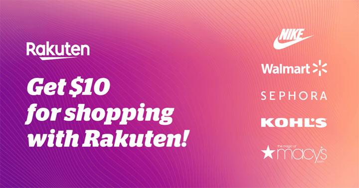 rakuten ebates ad banner with $10 welcome bonus.