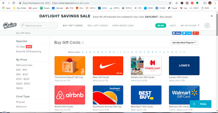 raise.com merchant search with featured or alphabetical listing.