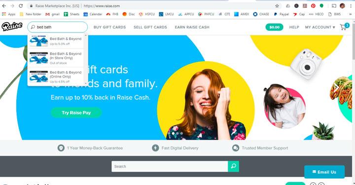 raise homepage search bar for merchant gift card