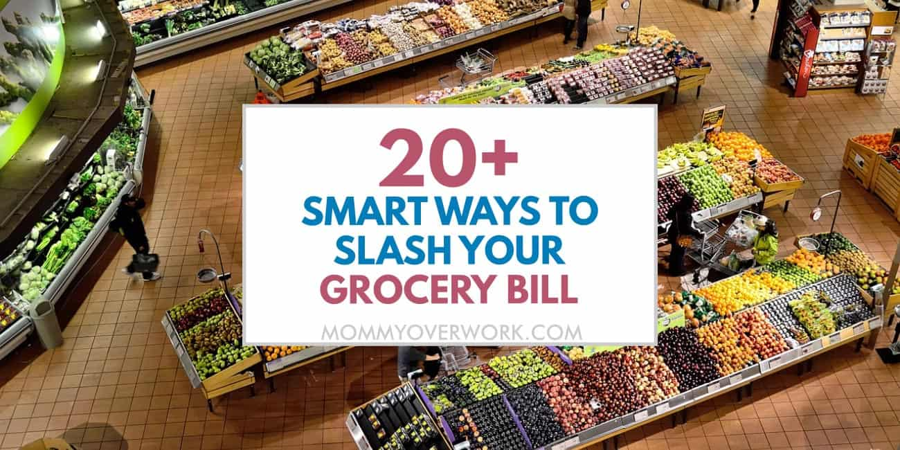 smart ways to save money on groceries and slash bill text atop overhead view of supermarket produce section.