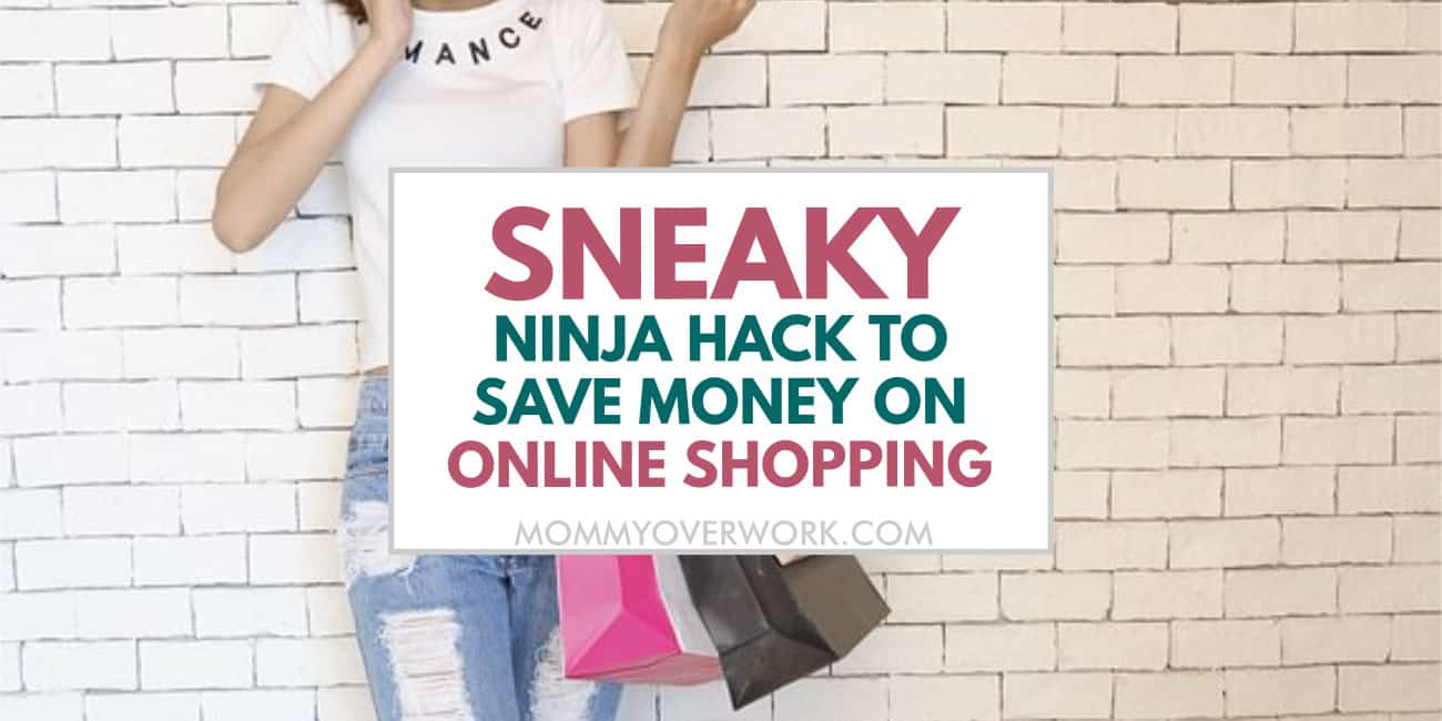 sneaky ninja hack to save money shopping online with rakuten and raise text atop girl with shopping bags.