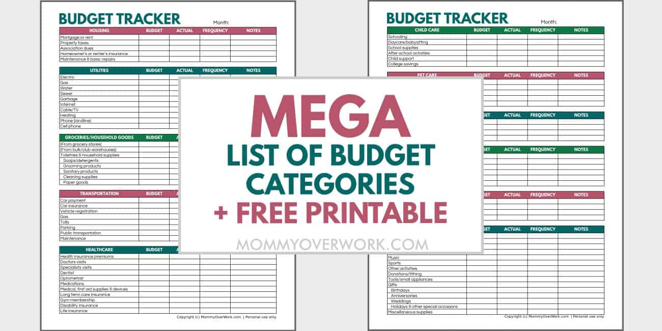 mega list of budget categories with free printable text atop preview of simple budget tracker spreadsheet.
